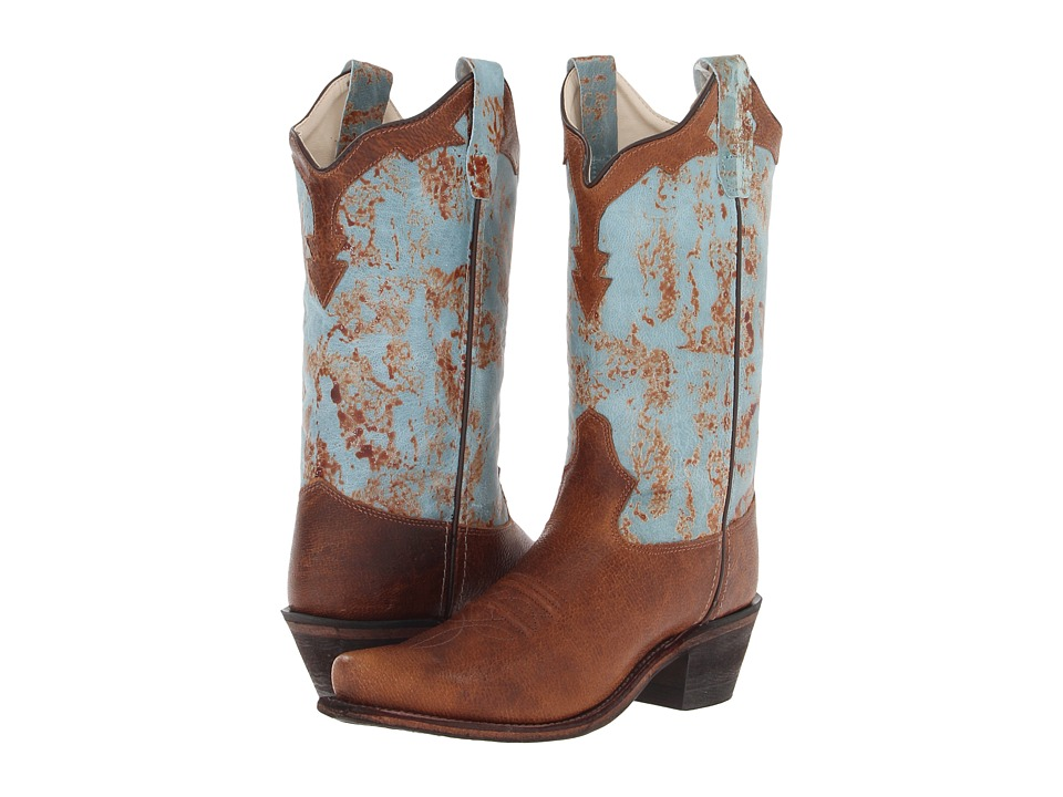 Old West Kids Boots - Western Snip Toe Boot (Toddler/Little Kid) (Light Brown Foot Collar/Turquoise Shaft) Cowboy Boots