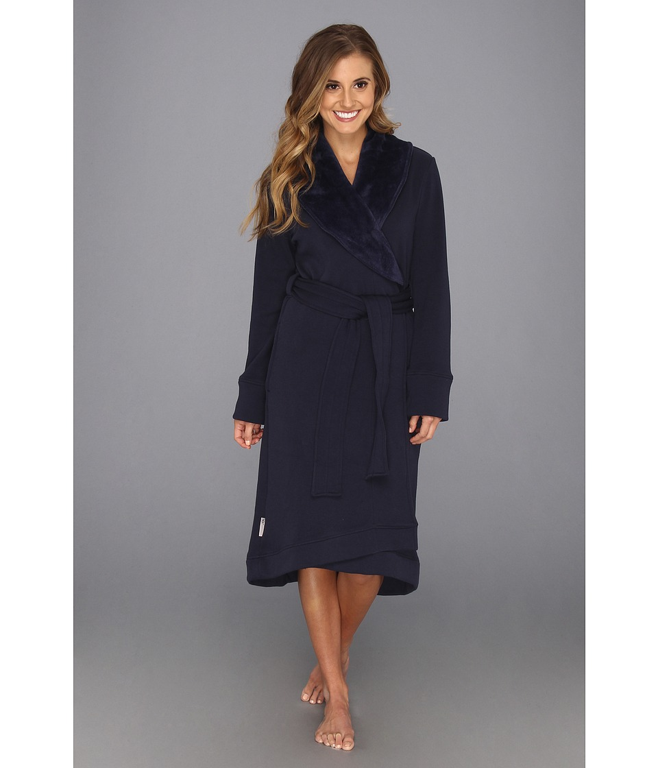 UGG - Duffield Robe (Navy) Women's Robe plus size,  plus size fashion plus size appare