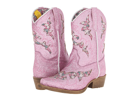 Laredo Kids - Glitterachi (Toddler/Little Kid) (Pink Glitter P/U w/ Floral Underlay) Girls Shoes