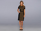Halston Heritage - Short-Sleeve Wide Scoop Neck Dress w/ Contrast Lace Front (Amber Green/Black) - Apparel