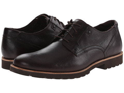 Rockport - Ledge Hill Plain Toe (Dark Brown Tumbled) Men