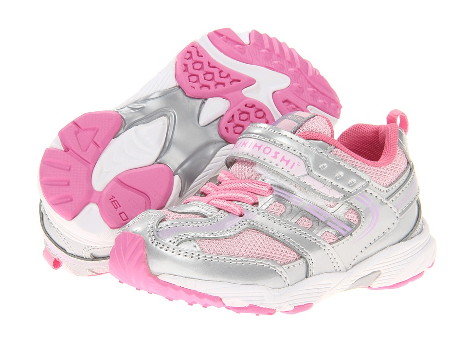 Tsukihoshi Kids - Sprint (Toddler/Little Kid) (Silver/Pink) Girls Shoes