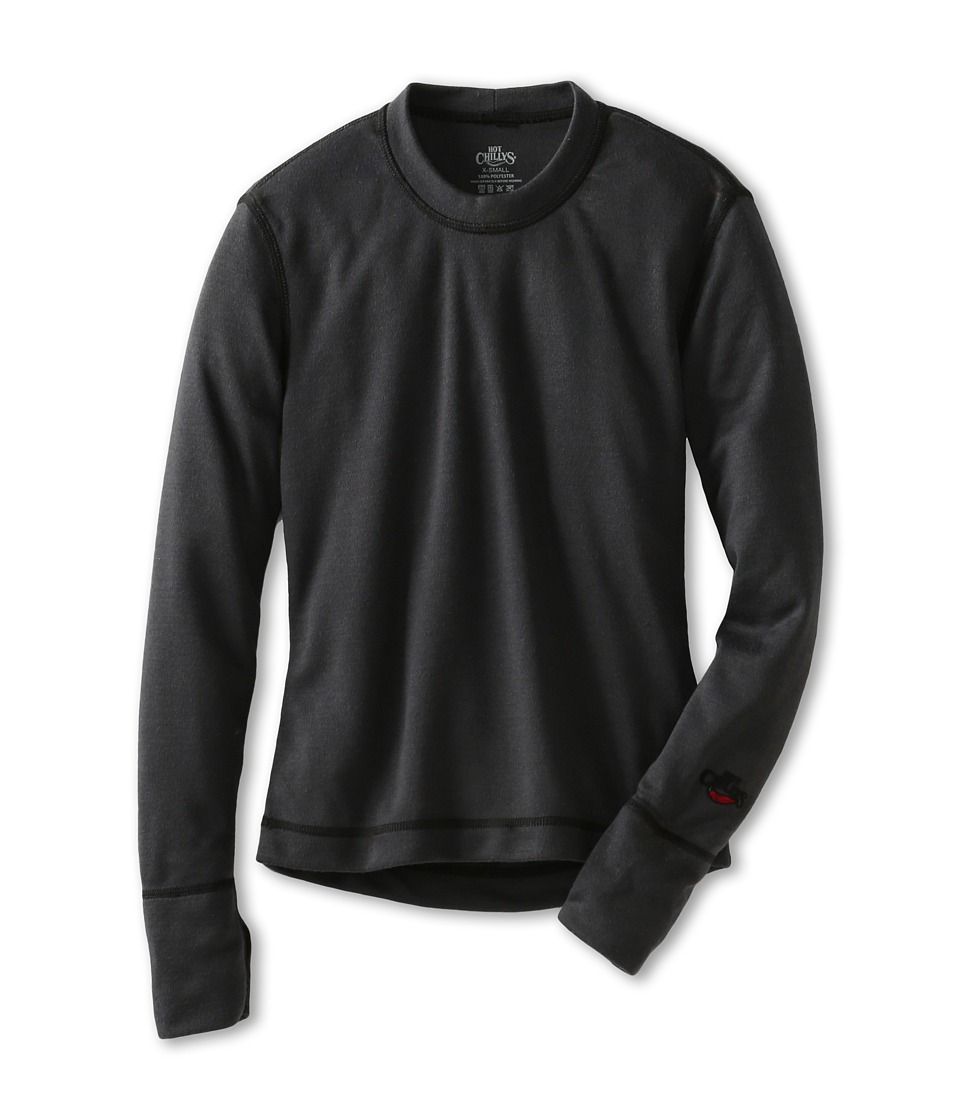 Hot Chillys Kids - Geo Pro Crewneck (Little Kids/Big Kids) (Black Heather) Kid's Long Sleeve Pullover