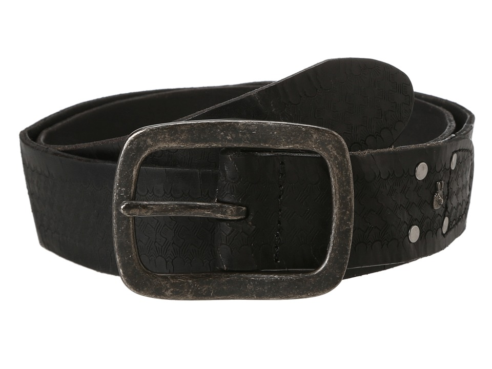 John Varvatos - 40mm Strap with Embossed Washed (Black/Nickle) Men's Belts