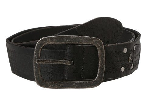John Varvatos - 40mm Strap with Embossed Washed (Black/Nickle) Men