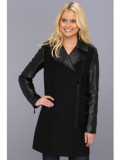 SALE! $104.99 - Save $84 on Vince Camuto Asymmetrical Coat w Faux Leather (Black) Apparel - 44.45% OFF $189.00