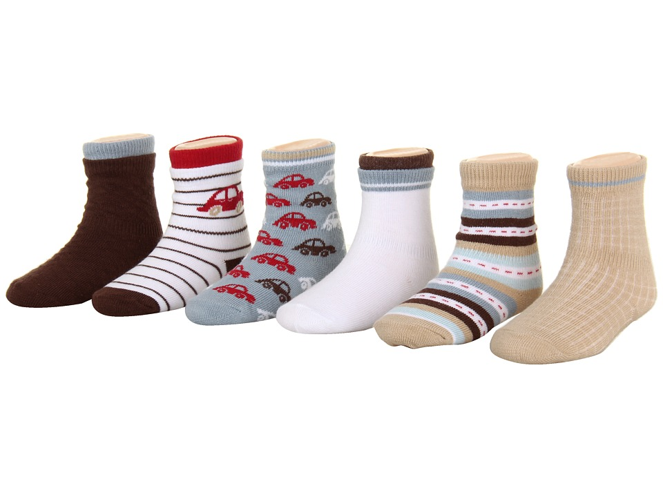 Robeez - 6-Pack Bootie Socks - Car (Infant) (Multi) Boys Shoes