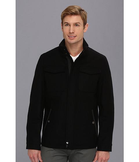 Perry Ellis - Wool Open Bottom Coat (Black) Men's Coat