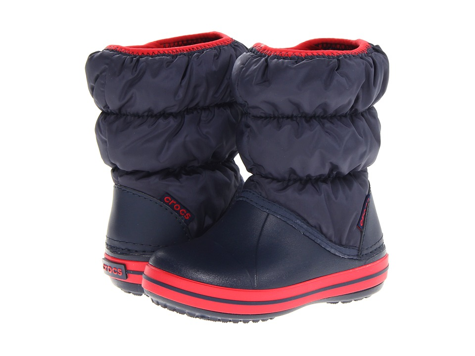 Crocs Kids - Winter Puff Boot (Toddler/Youth) (Navy/Red) Kids Shoes
