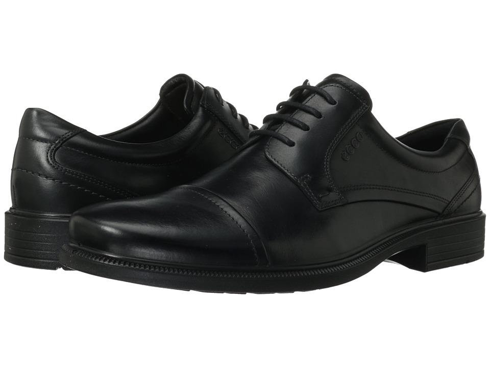 ECCO - Dublin Cap Toe Tie (Black) Men's Shoes