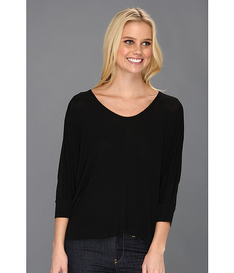 Splendid - Boxy U Neck Top (Black) Women