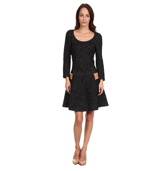 See by Chloe - L/S Shirt and Skirt Attached Dress w/ Waist Detail (Angora/Black) Women's Dress