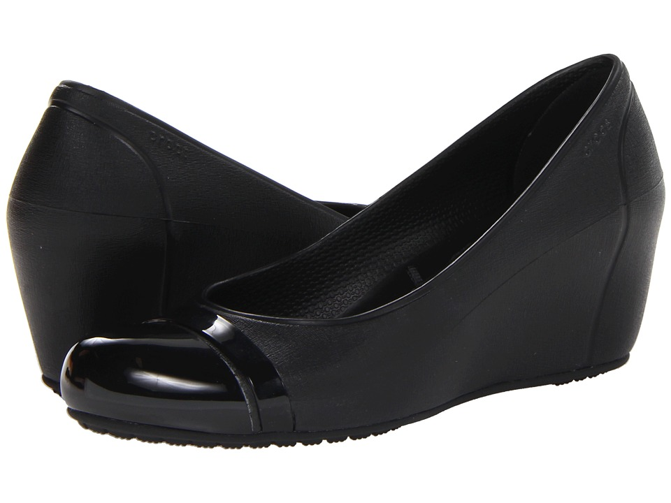 Crocs - Cap Toe Wedge (Black/Black) Women