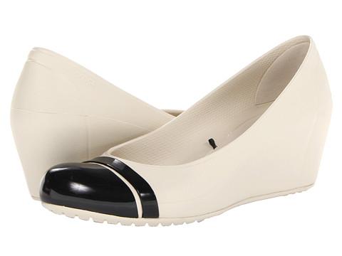 Crocs - Cap Toe Wedge (Stucco/Black) Women's Wedge Shoes