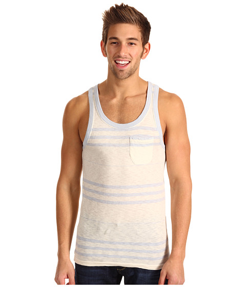 French Connection - Cedar Creek Stripe Tank (Prison Blue) Men's Sleeveless