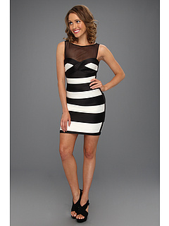 SALE! $128.59 - Save $209 on BCBGMAXAZRIA Mara Colorblock Fitted Dress (Black Combo) Apparel - 61.96% OFF $338.00