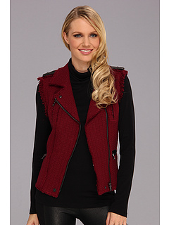 SALE! $169.99 - Save $255 on Rebecca Taylor Tweed Moto Vest (Bordeaux) Apparel - 60.00% OFF $425.00