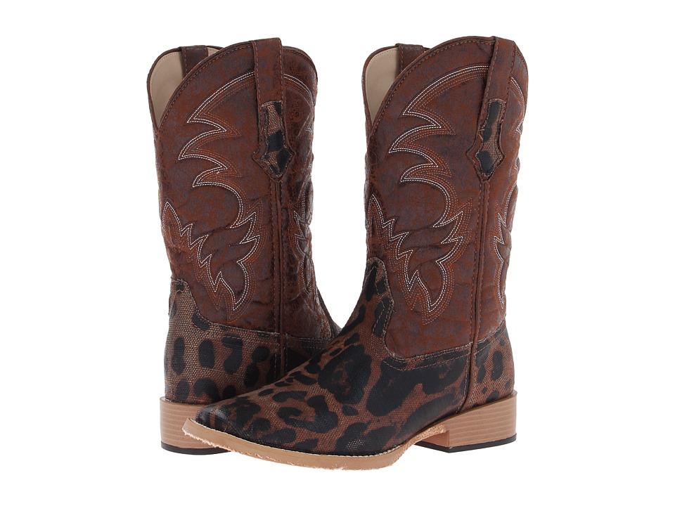 Roper Square Toe Leopard Print Cowboy Boot (Brown Leopard Print/Canvas Vamp) Cowboy Boots