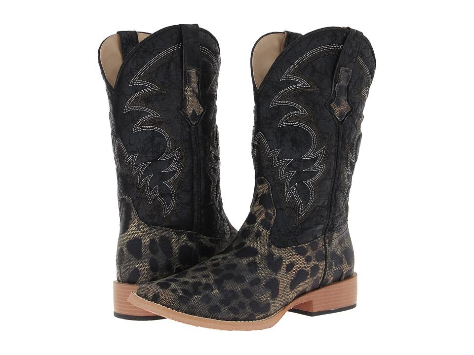 Roper - Square Toe Leopard Print Cowboy Boot (Black Leopard Print/Canvas Vamp) Cowboy Boots