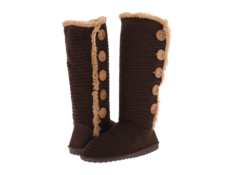 MUK LUKS - Malena - Horizontal Rib Side Button Up Boot (Java) Women's Cold Weather Boots