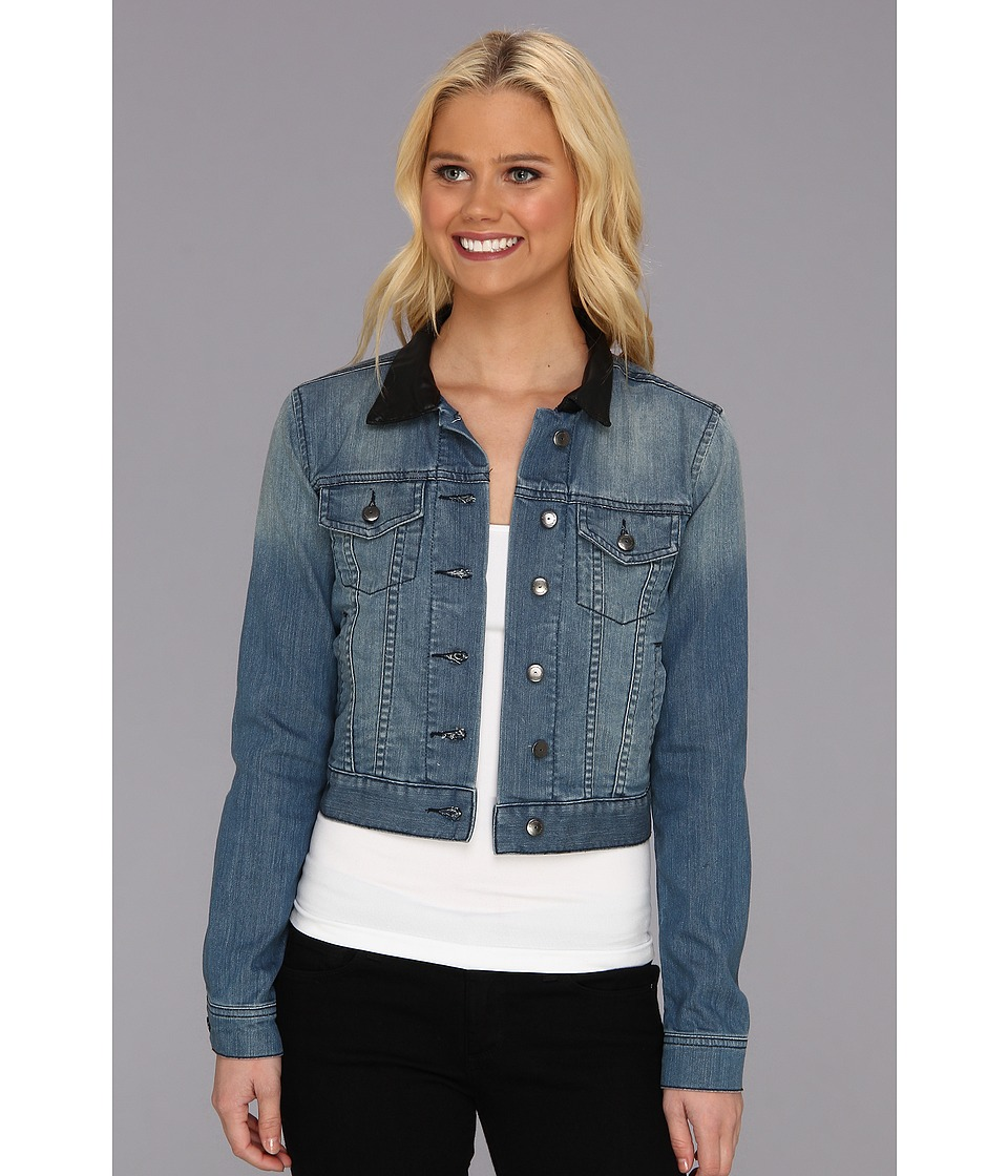 BCBGeneration - Cropped Denim Jacket w/ Leather Collar (Not So Blue) Women's Jacket