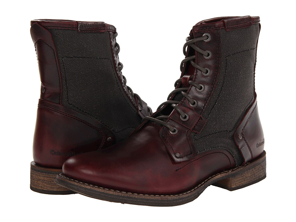 Caterpillar Abe TX (Oxblood Full Grain Leather/Blackout Canvas) Men