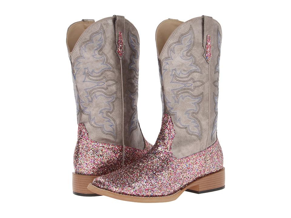 Roper Bling SquareToe Boot (Metallic Grey/Multi Glitter) Cowboy Boots