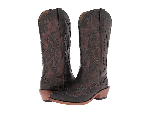 Roper - 12 Eagle Overlay Snip Toe Boot (Copper/Brown) Cowboy Boots