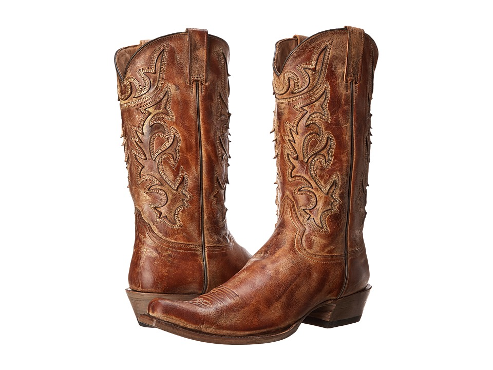 Stetson - Cracked Inlay Snip Toe Boot (Crackle Honey) Men's Boots