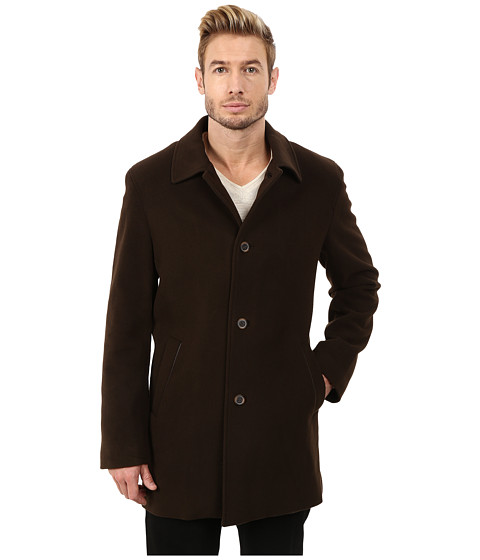 Cole Haan - Classic Italian Wool Topper (Espresso) Men's Coat