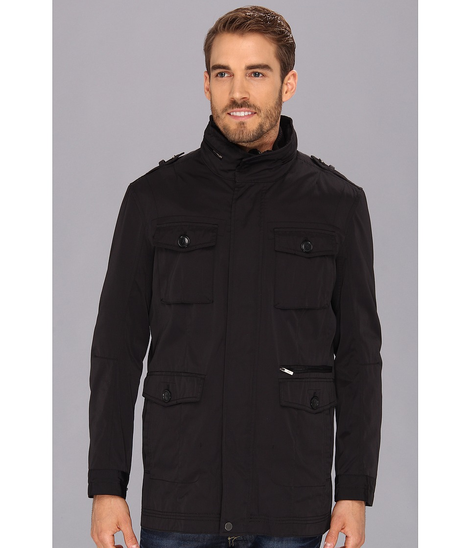 Cole Haan - Oxford Nylon 3-in-1 Utility Jacket w/ Removable Vest (Black) Men's Coat