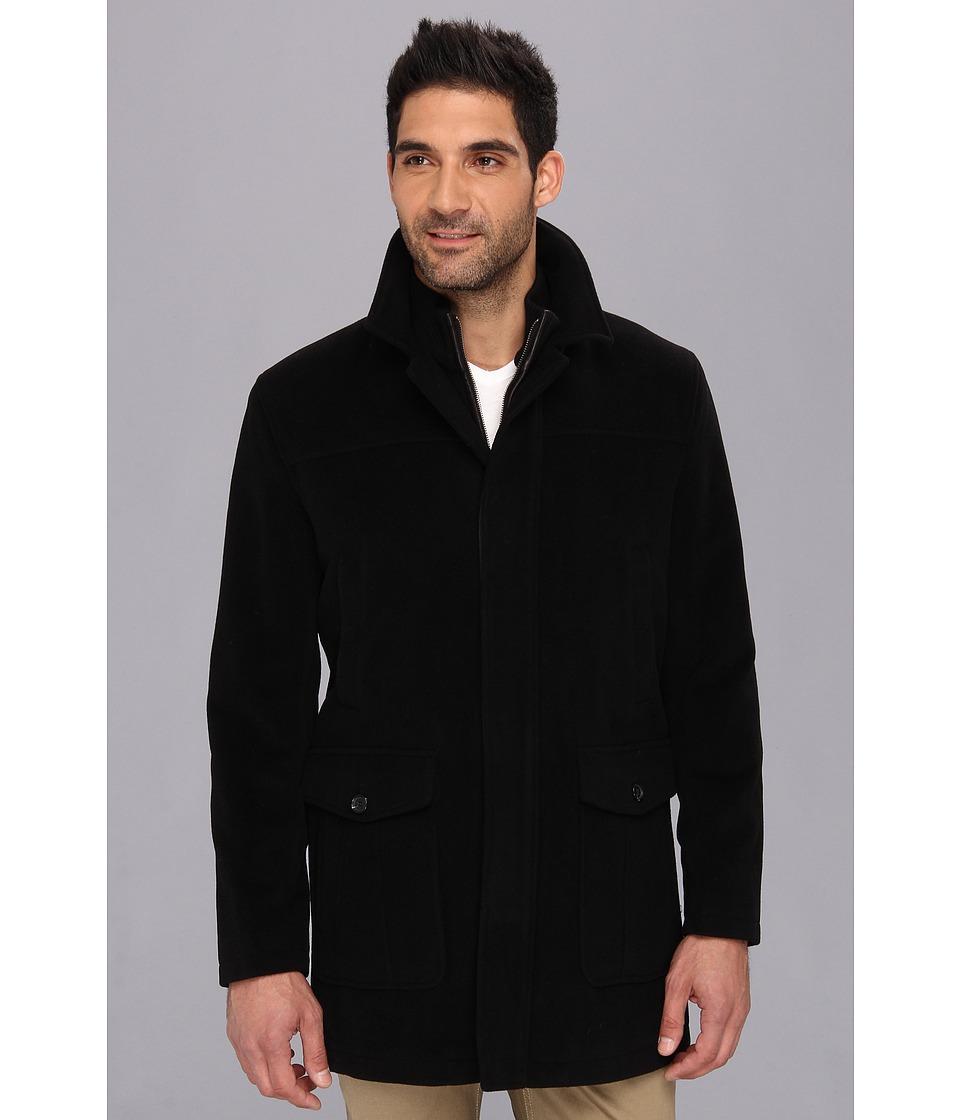 Cole Haan - Bib Front Italian Wool Topper (Black) Men's Coat