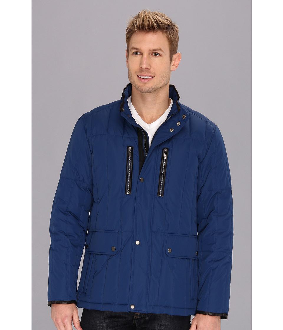 Cole Haan - Rail Quilt Down Jacket w/ Leather Details (Navy) Men's Coat