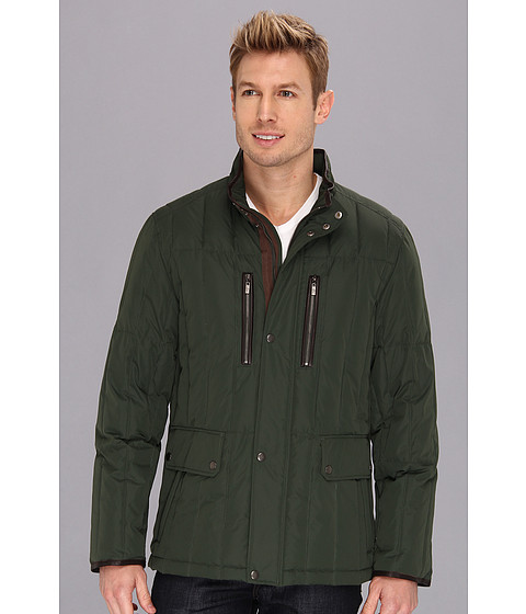 Cole Haan - Rail Quilt Down Jacket w/ Leather Details (Forest) Men's Coat