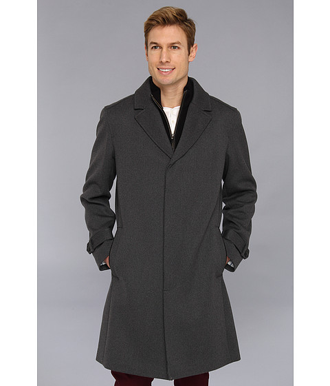 Cole Haan - Italian Twill Topper w/ Removable Merino Wool Bib (Charcoal) Men's Coat