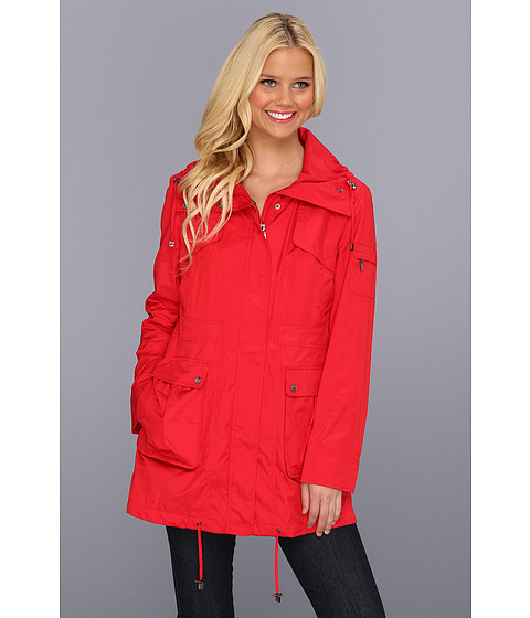 Cole Haan - Packable 4-Pocket Travel Jacket w/ Hood (Red) Women's Coat