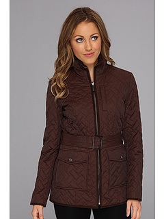 SALE! $164.99 - Save $134 on Cole Haan Signature Quilt Short Coat w Microsuede Trim (Chocolate) Apparel - 44.82% OFF $299.00