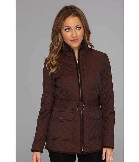 Cole Haan - Signature Quilt Short Coat w/ Microsuede Trim (Chocolate) Women's Coat