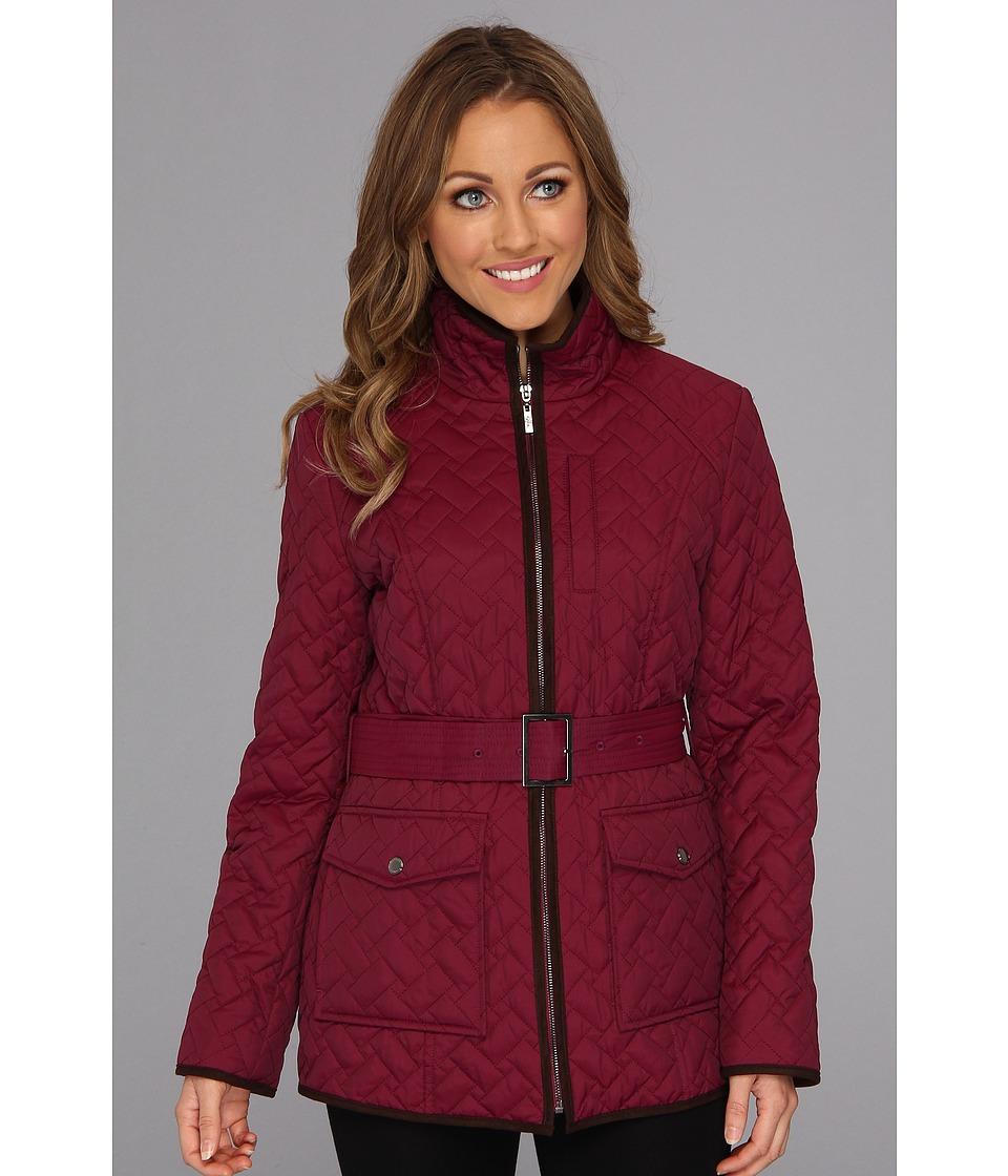 Cole Haan - Signature Quilt Short Coat w/ Microsuede Trim (Fuchsia) Women's Coat plus size,  plus size fashion plus size appare