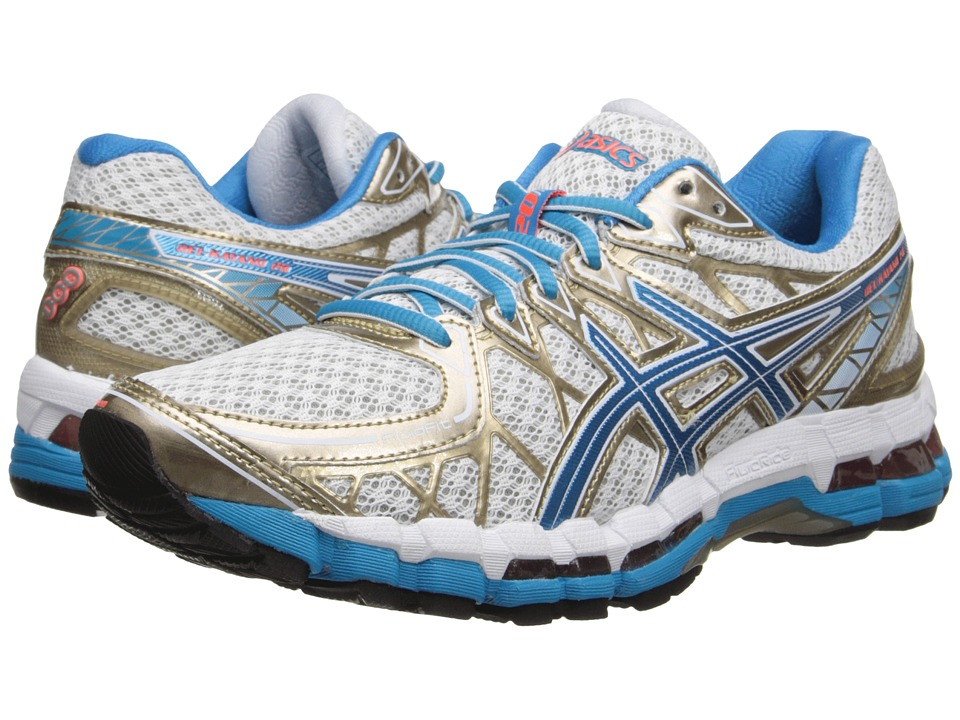 ASICS - Gel-Kayano 20 (White/Island Blue/Electric Melon) Women's Running Shoes