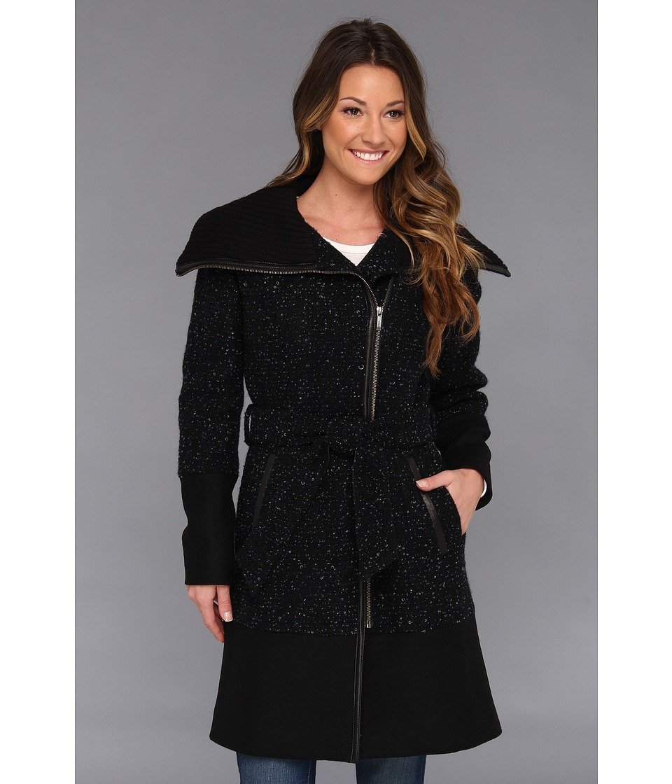 Cole Haan - Asymmetrical Belted Mixed Media Coat (Black) Women's Coat