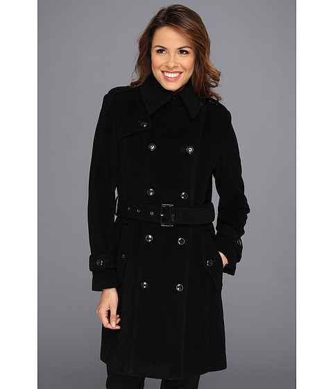 Cole Haan - Wool Plush Double-Breasted Trench (Black) Women's Coat