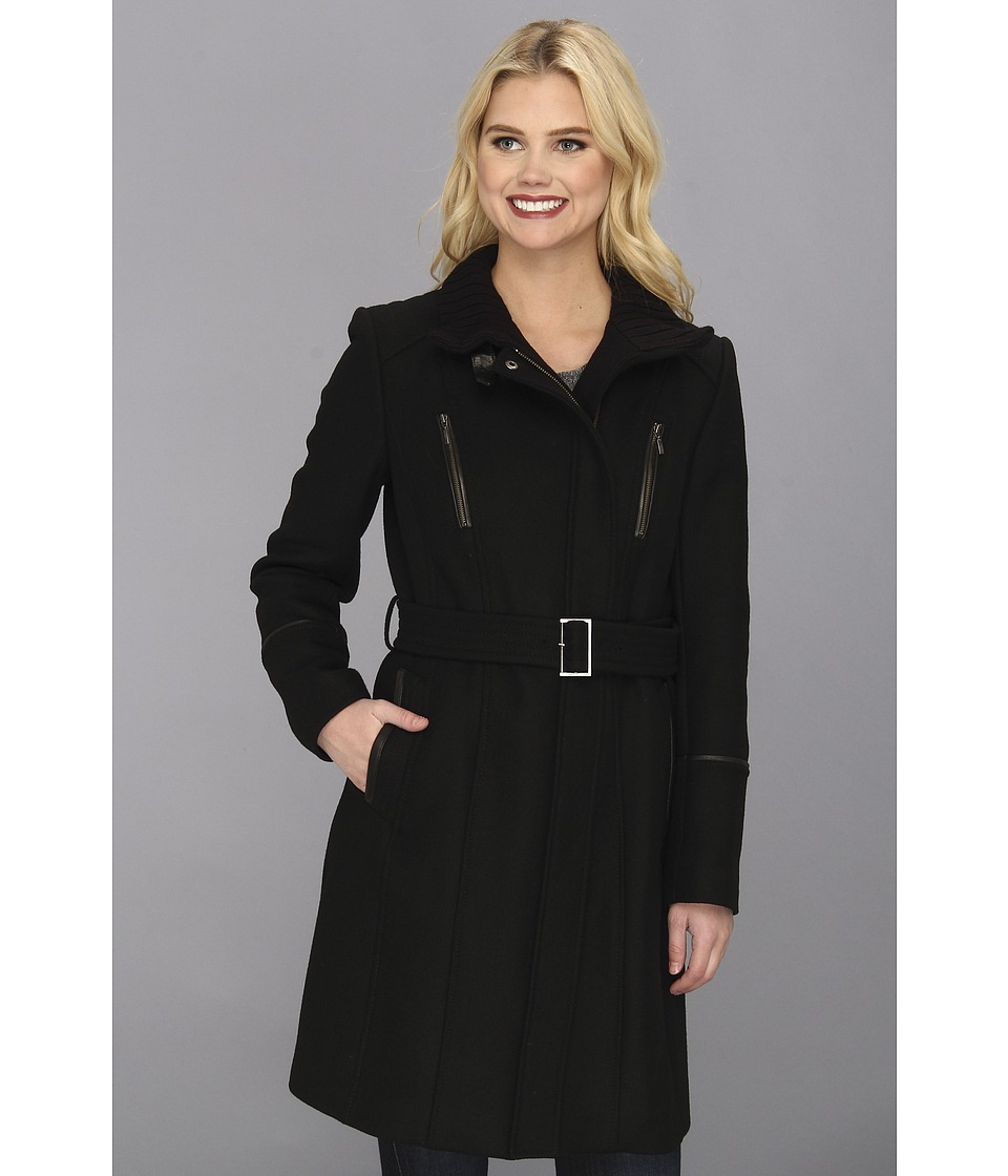 Cole Haan - Italian Twill Belted Military Coat (Black) Women's Coat