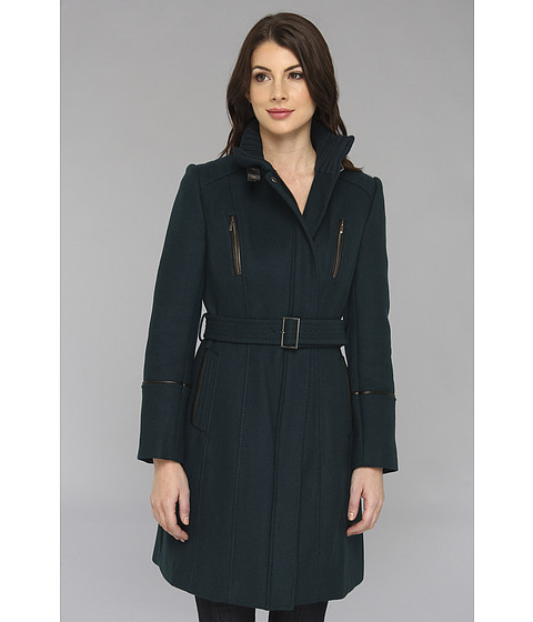 Cole Haan - Italian Twill Belted Military Coat (Teal) Women's Coat