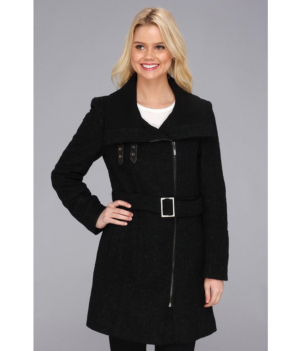 Cole Haan - Asymmetrical Belted Coat w/ Exposed Zipper (Black/Teal) Women's Coat