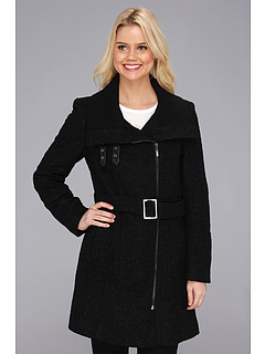 SALE! $326.99 - Save $268 on Cole Haan Asymmetrical Belted Coat w Exposed Zipper (Black Teal) Apparel - 45.04% OFF $595.00