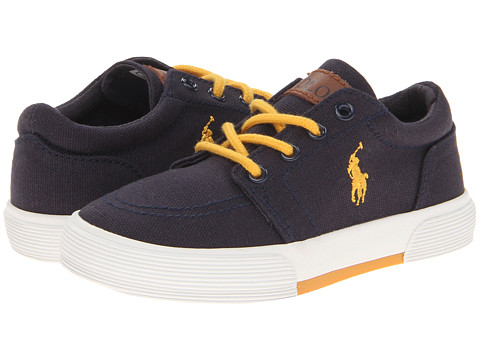 Polo Ralph Lauren Kids - Faxon II FA13 (Toddler) (Navy Canvas/Yellow) Boys Shoes