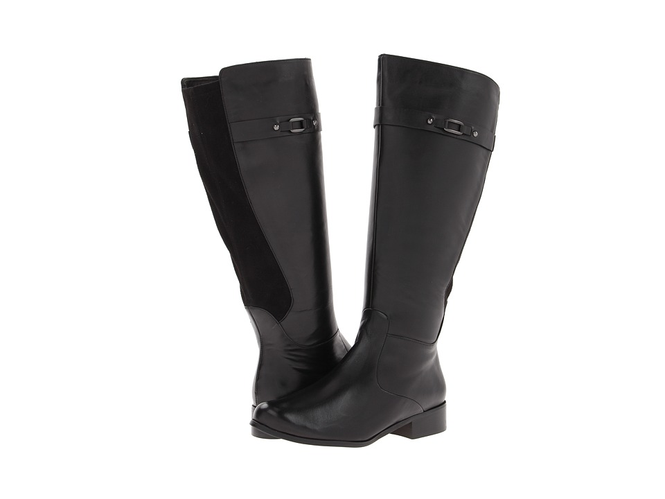 Vaneli - Ramex Boot (Wide Shaft) (Black Nappa/Black Super Star Suede) Women's Zip Boots