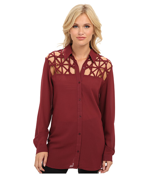 MINKPINK - Web Of Lies Shirt (Wine) Women's Long Sleeve Button Up