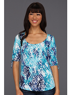 SALE! $11.99 - Save $38 on Lucky Brand Tribal Watercal Tina Tee (Blue Multi) Apparel - 75.78% OFF $49.50